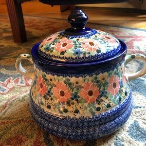 Polish stoneware cookie jar